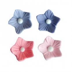 ASSORTED ICING FLOWERS PINK AND LAVENDER 16MM